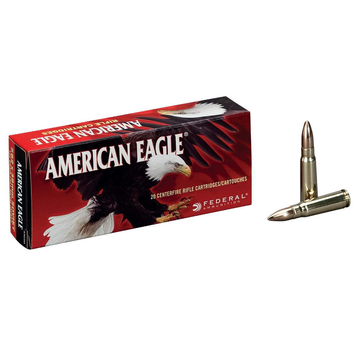 American Eagle Rifle Ammunition, .308 Win, 150-gr, FMJBT, 20Rds