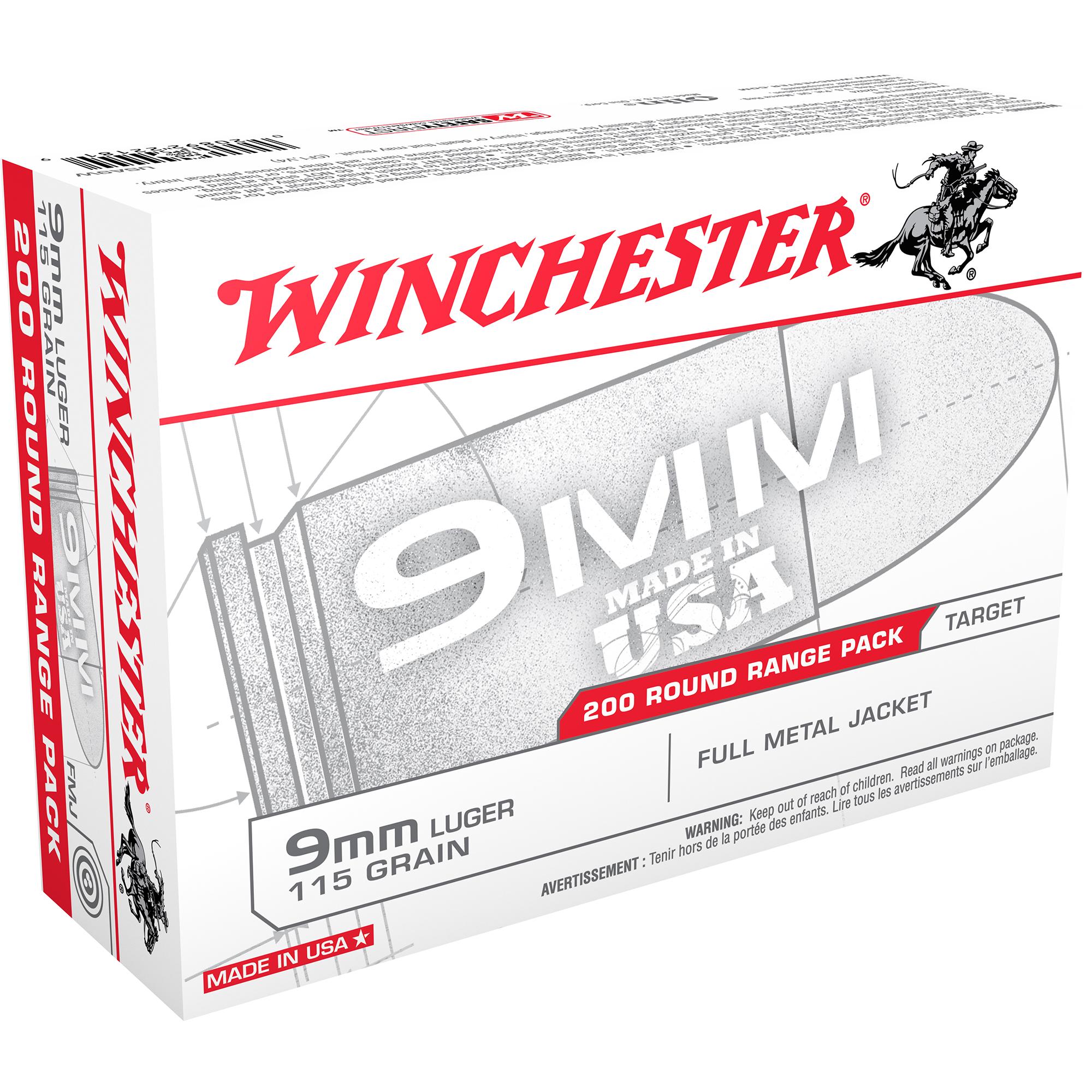 Winchester USA Handgun Ammo Range Pack, 9mm Luger, 115-gr, FMJ