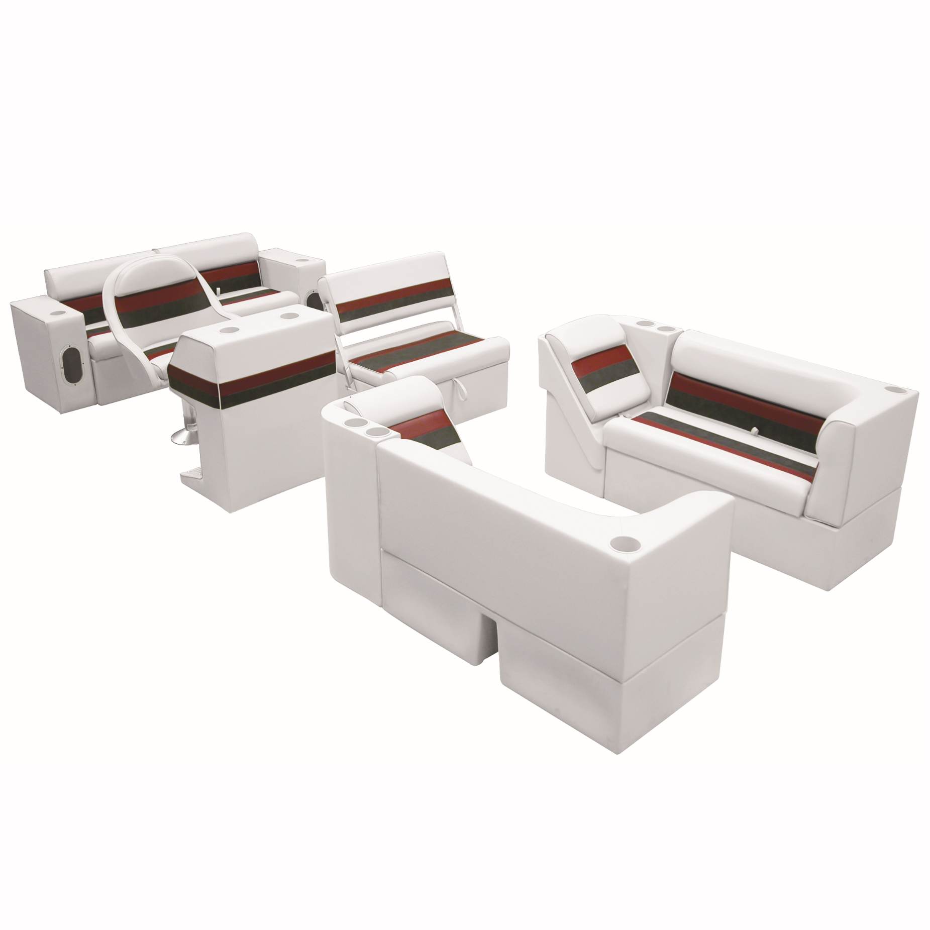 Deluxe Pontoon Furniture w/Classic Base - Complete Boat Package E, White/Red/Cha