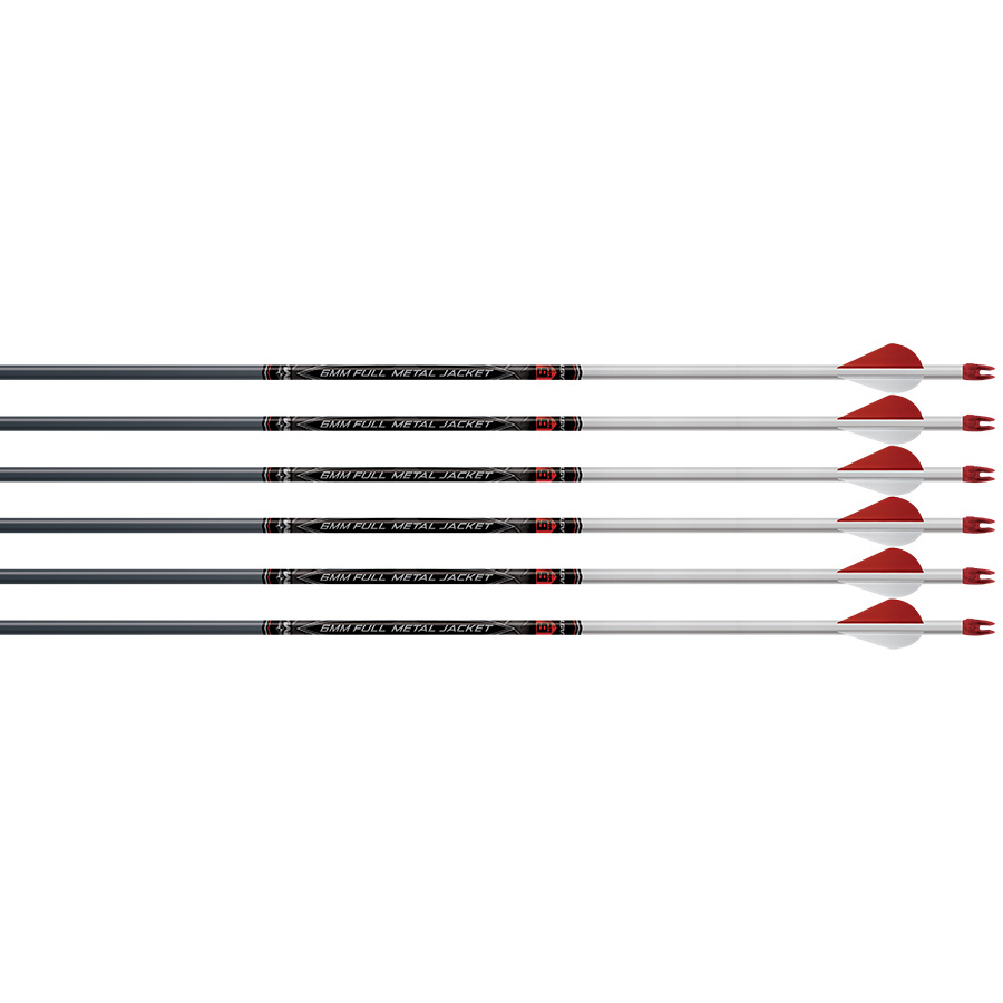 Easton 6mm Full Metal Jacket 320 Arrows with 2″ Blazer Vanes, 6 Pk.