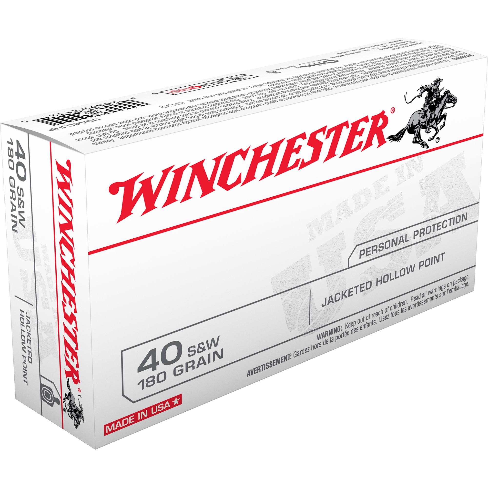 Winchester USA Handgun Ammo, .40 S & W, 180-gr, JHP