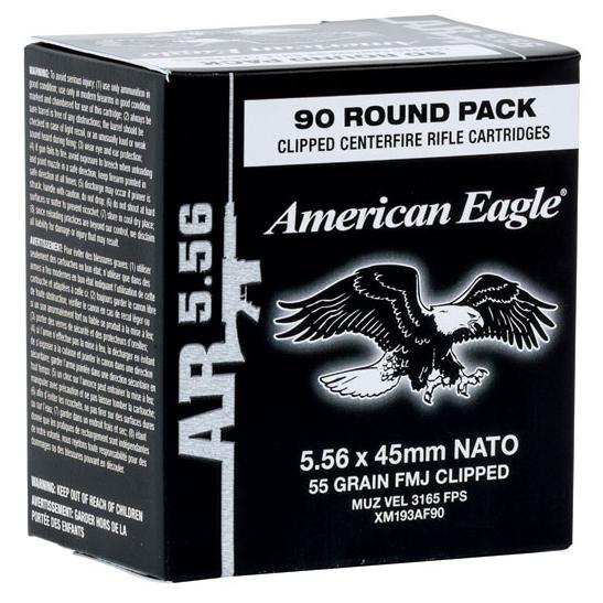 American Eagle Ammo 5.56x45mm Full Metal Jacket Boat-Tail Ammo, 55-gr.