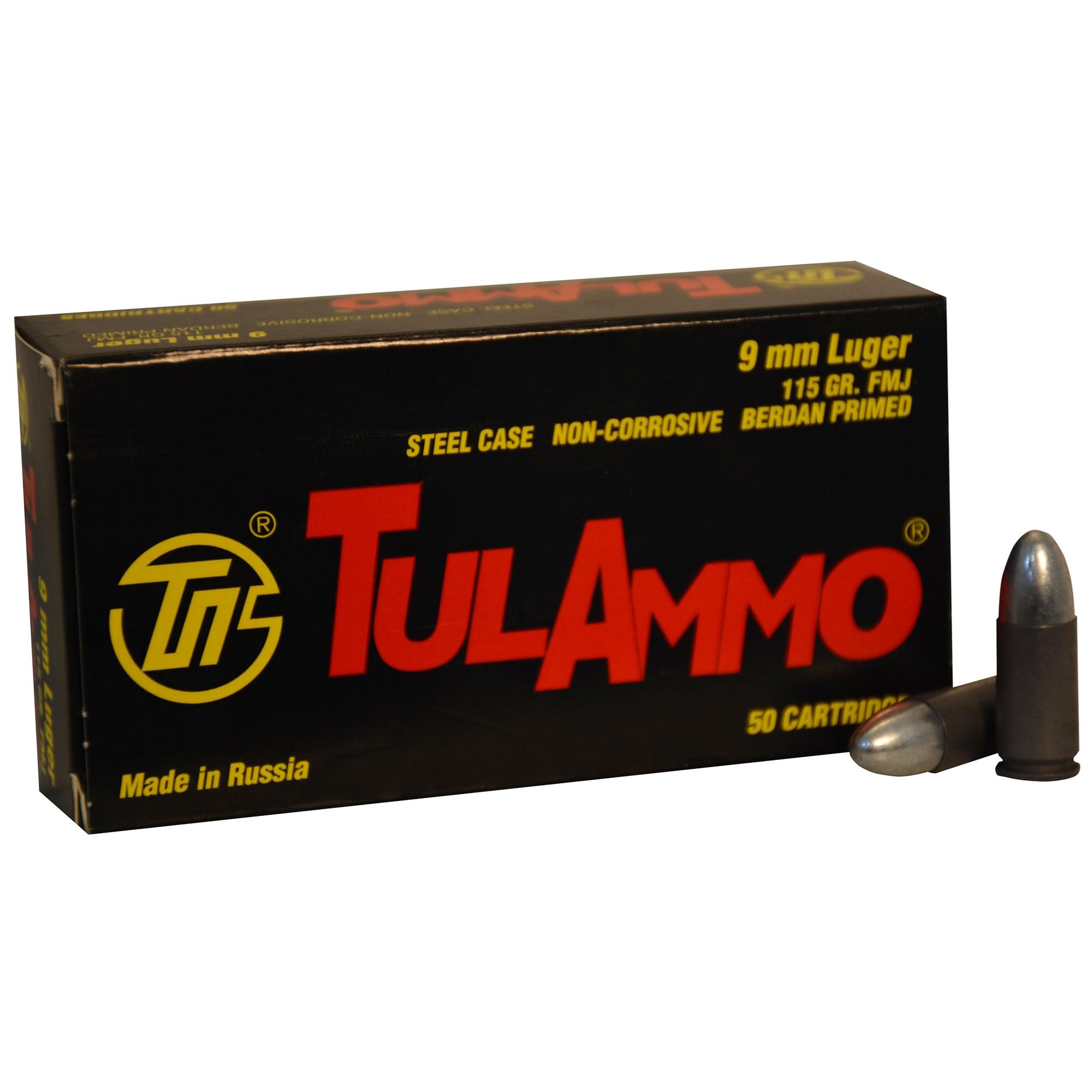 TulAmmo Handgun Ammunition, 9mm Luger, 115-gr, FMJ