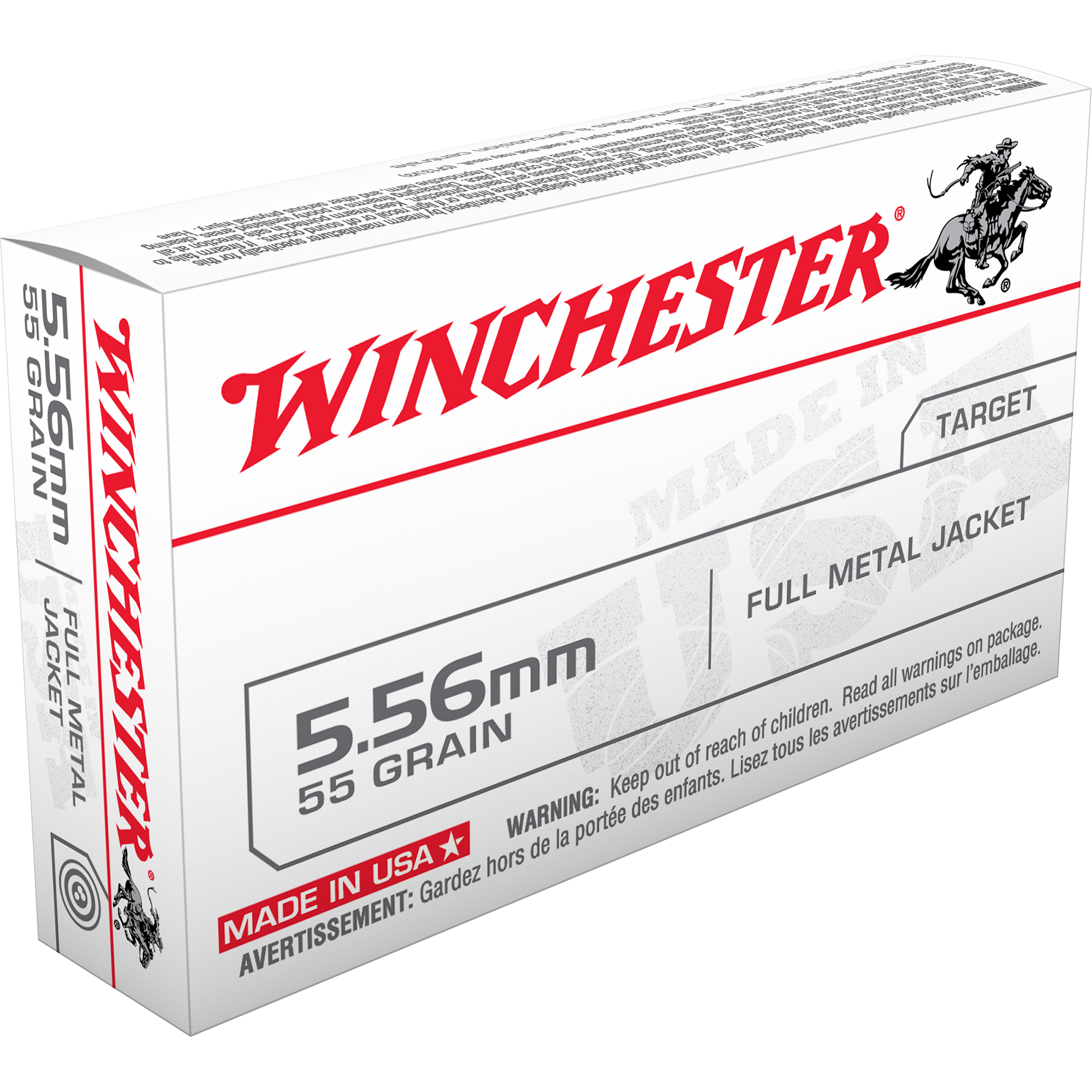 Winchester USA Rifle Ammo, 5.56x45mm, 55-gr, FMJ