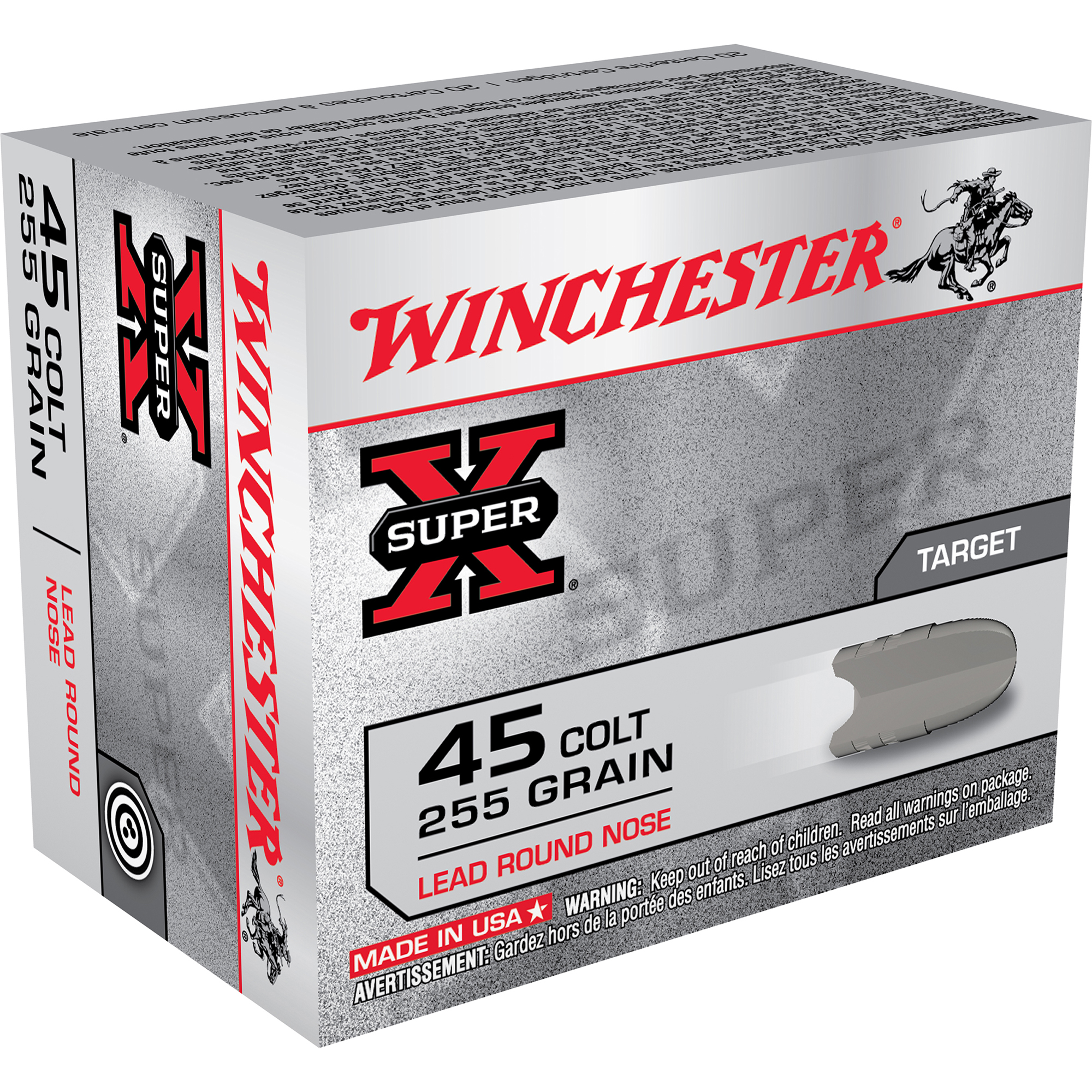 Winchester Super-X Handgun Ammunition, .45 Long Colt, 255-gr, LRN